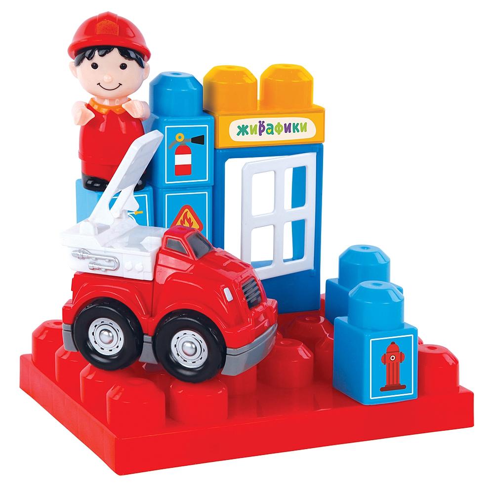 Купить Конструкторы для малышей, Пожарная станция, Жирафики, Китай, голубой, красный, Мужской