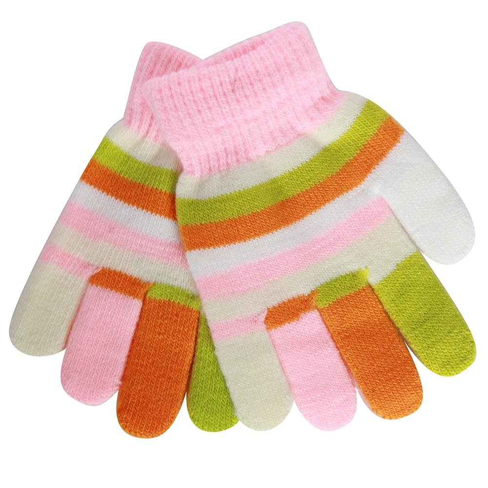 Варежки и перчатки Перчатки для девочки Хамелеон розовые, в полоску перчатки без пальцев шерстяные с рисунком розовые