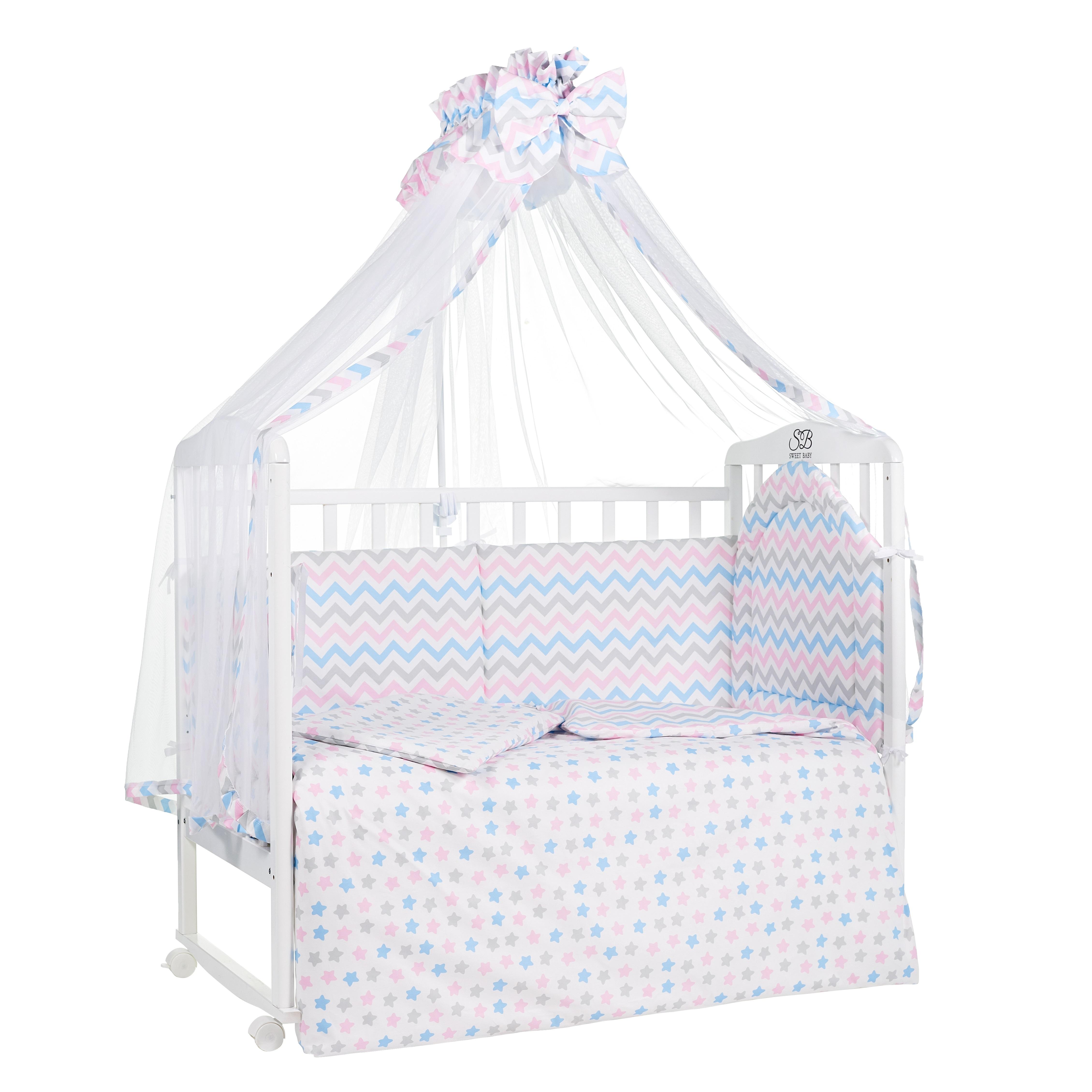 Постельные принадлежности Sweet Baby «Stelle Rosa» 7 предметов розовый поплин комплект в кроватку sweet baby stelle rosa розовый 7 предметов поплин