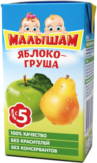 Напитки ФрутоНяня Малышам ФрутоНяня Малышам Яблоко и груша с 5 мес. 125 мл пюре фрутоняня малышам яблоко груша с 5 мес 125 г
