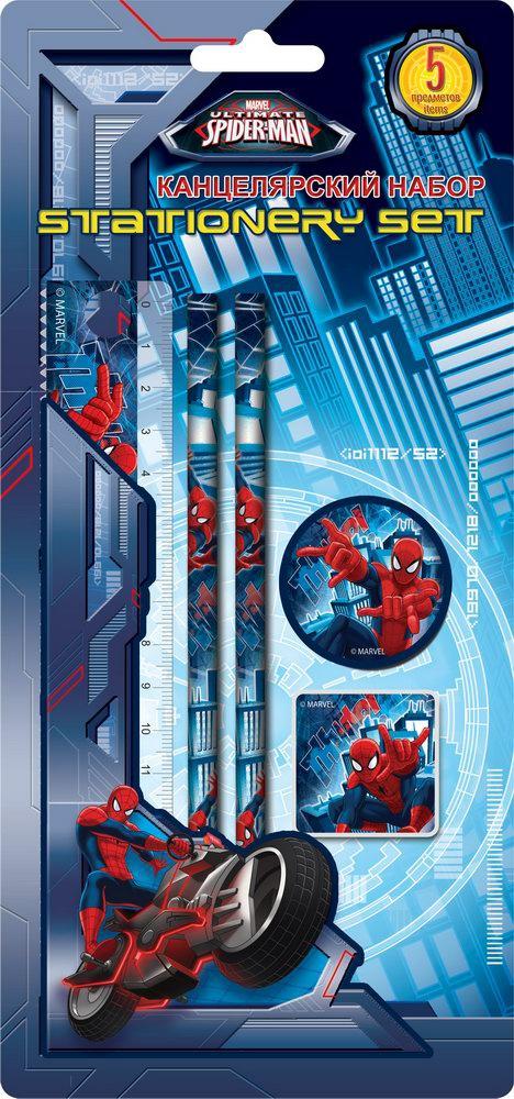 Пеналы и наборы Spider-man Набор канцелярский Spider-Man 5 пр. ручки и карандаши spider man набор цветных карандашей spider man 18 шт