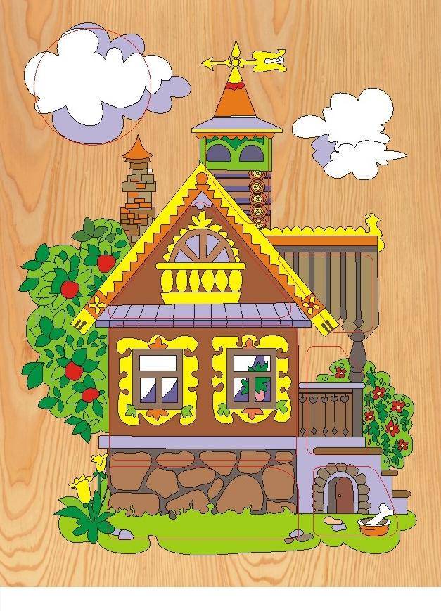 Купить Деревянные игрушки, Рамка-пазл Деревенский дом , Wooden Toys, Китай