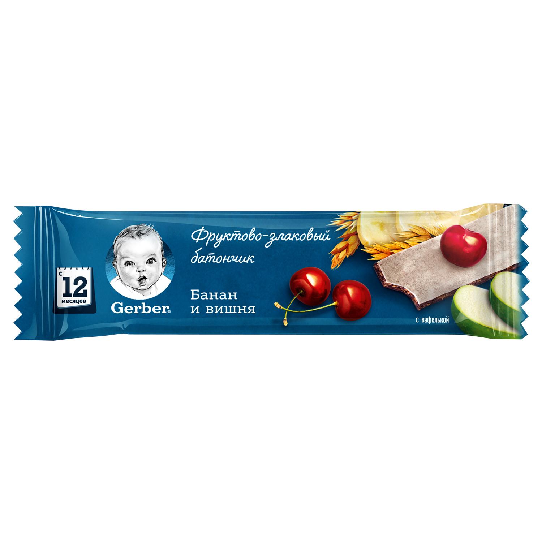 Десерты Gerber фруктово-злаковый с вишней и бананом с 12 мес. 25 г батончик злаковый fortuche вишня с семенами подсолнечника льна тыквы 30 шт по 25 г