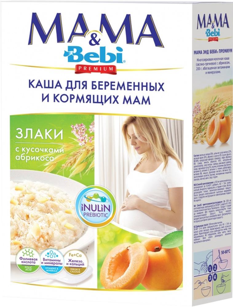 Каша для беременных и кормящих мам Bebi Mama & Bebi Premium молочная Злаки с кусочками абрикоса 200 г