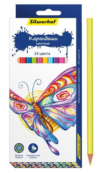 Карандаши цветные Silwerhof Бабочки 24 цветов ручки и карандаши silwerhof карандаши цветные silwerhof 12 цв