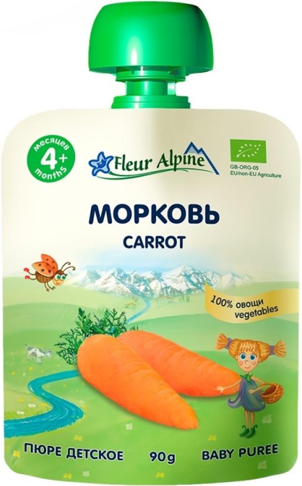 все цены на Пюре Fleur Alpine Fleur Alpine Organic Морковь с 4 мес. 90 г (пауч) онлайн