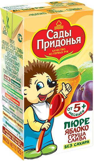 купить Пюре Сады Придонья Сады Придонья Яблоко, груша, слива (c 5 месяцев) Tetra Pak 125 г по цене 18.5 рублей