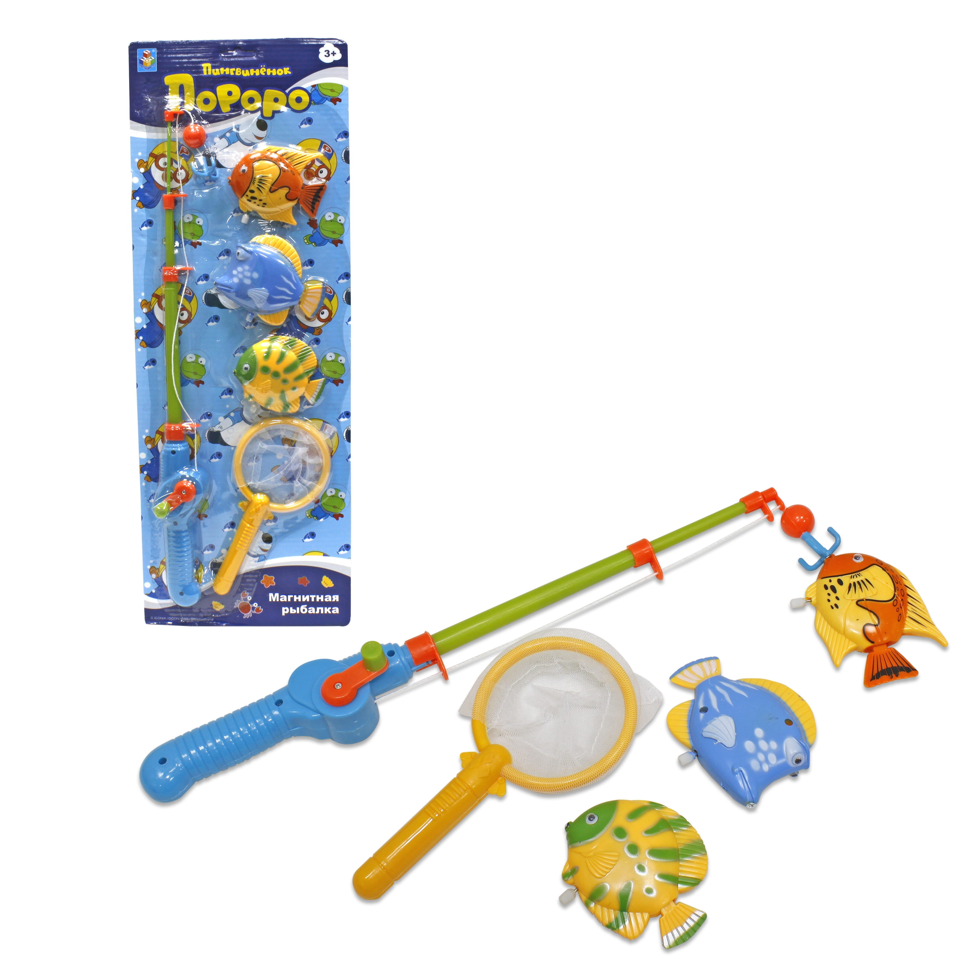 Игрушки для ванны 1toy Магнитная рыбалка. Пингвинёнок Пороро игра 1toy сумочка furby волна т57556
