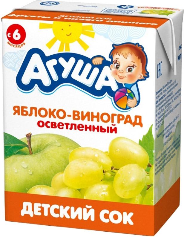 Напитки Агуша Агуша Яблоко и виноград с 6 мес. 200 мл йогурт питьевой агуша засыпай ка зеленое яблоко мелисса 2 7% с 8 мес 200 мл