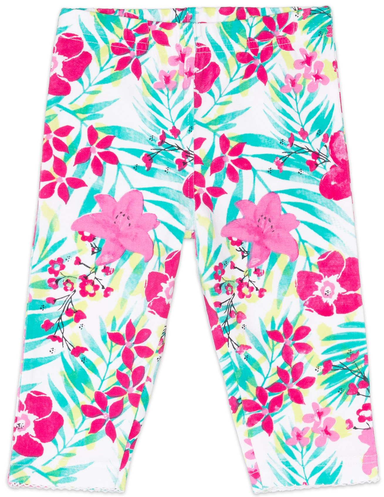 Легинсы Barkito Брюки трикотажные капри для девочки Barkito, Алоха Гавайи!, белый, с рисунком цветы брюки дудочки 7 8 с рисунком