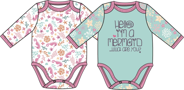 Купить Первые вещи новорожденного, Маленькая сирена белое с рисунком, мятное, Barkito, Узбекистан, белый с рисунком, мятный, Женский