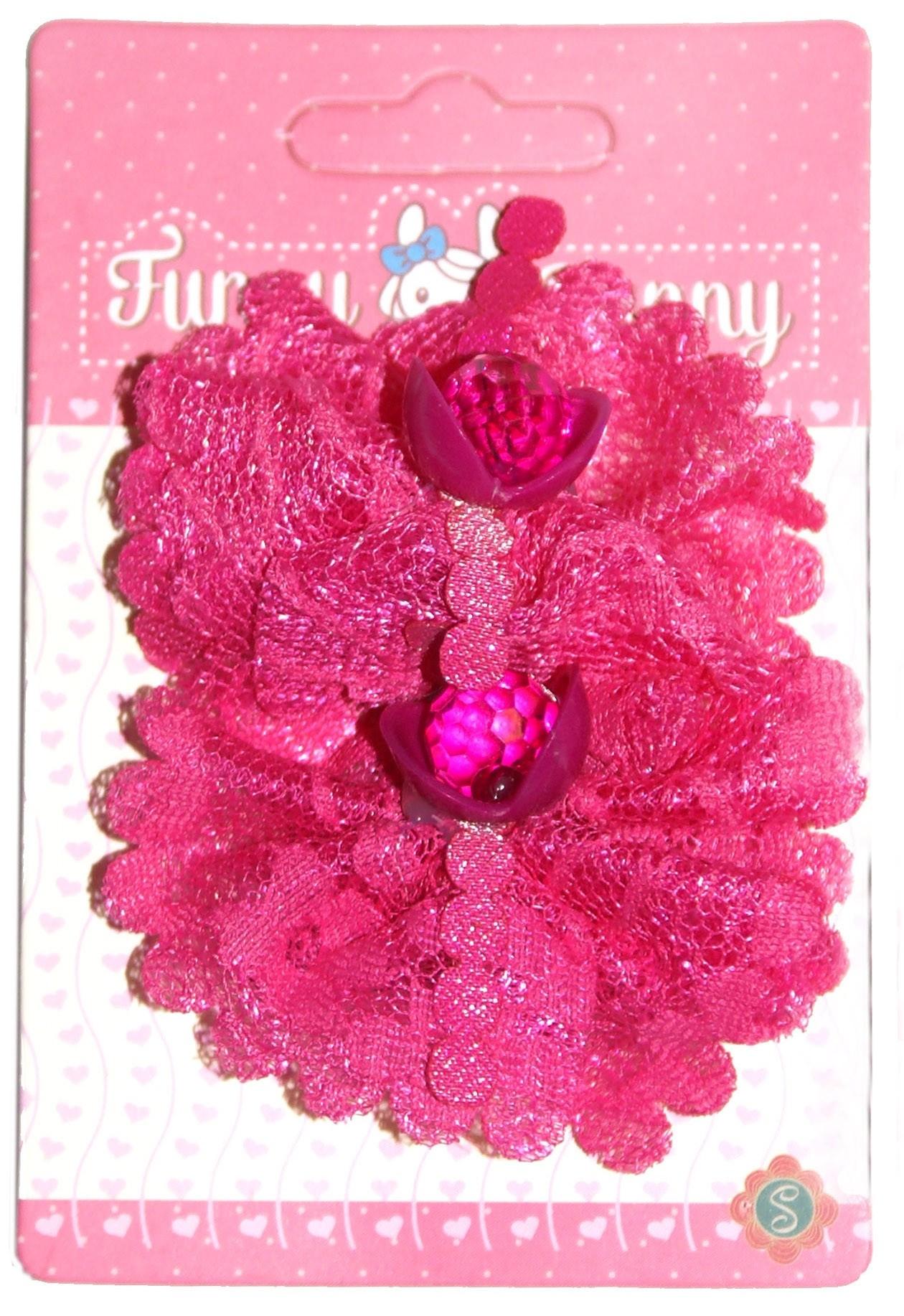 Украшения Funny Bunny Резинка для волоc Funny Bunny текстиль 2 шт. в ассортименте невидимка для волос funny bunny розовые цветы 2 шт
