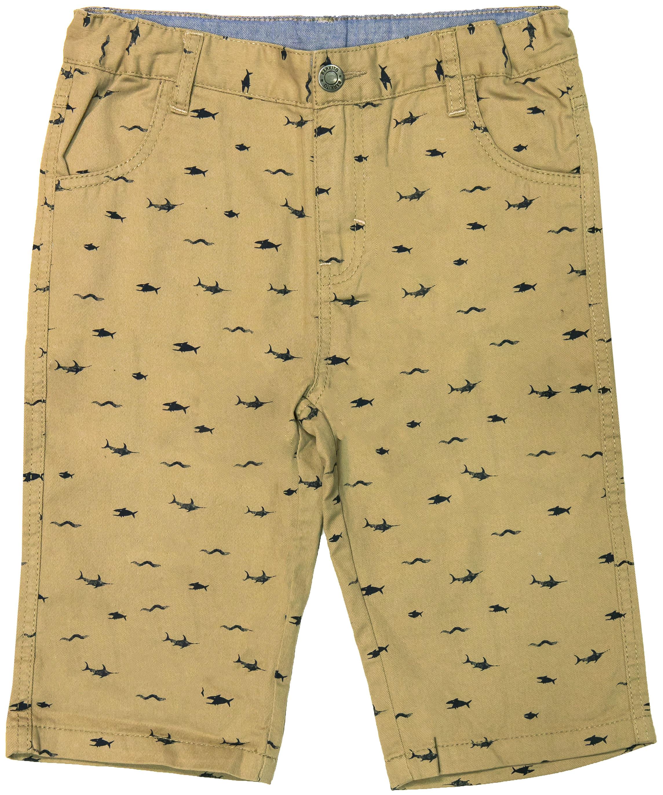 Шорты Barkito Шорты модель бермуды для мальчика Barkito Морские обитатели, бежевые с рисунком шорты бермуды