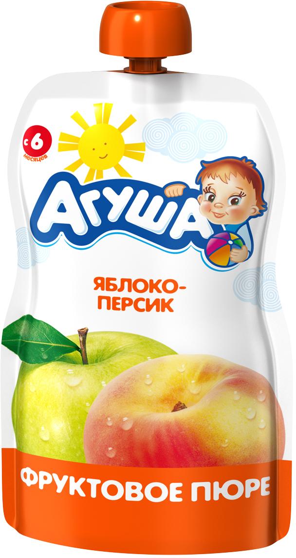 Купить Фруктовое, Пюре Агуша яблоко-персик (с 6 месяцев) 90 г, Россия