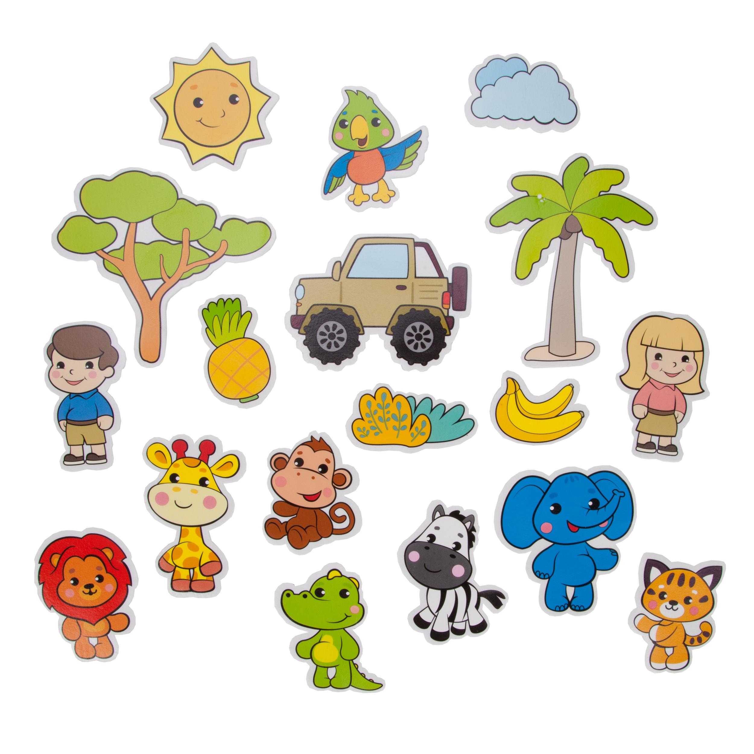 Купить Игрушки для ванны, Набор стикеров для купания Жирафики «Сафари», Китай, EVA