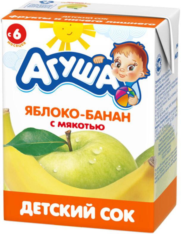 Напитки Агуша Сок Агуша Яблоко и банан с мякотью с 6 мес. 200 мл яблоко банан с 6 мес 90 гр