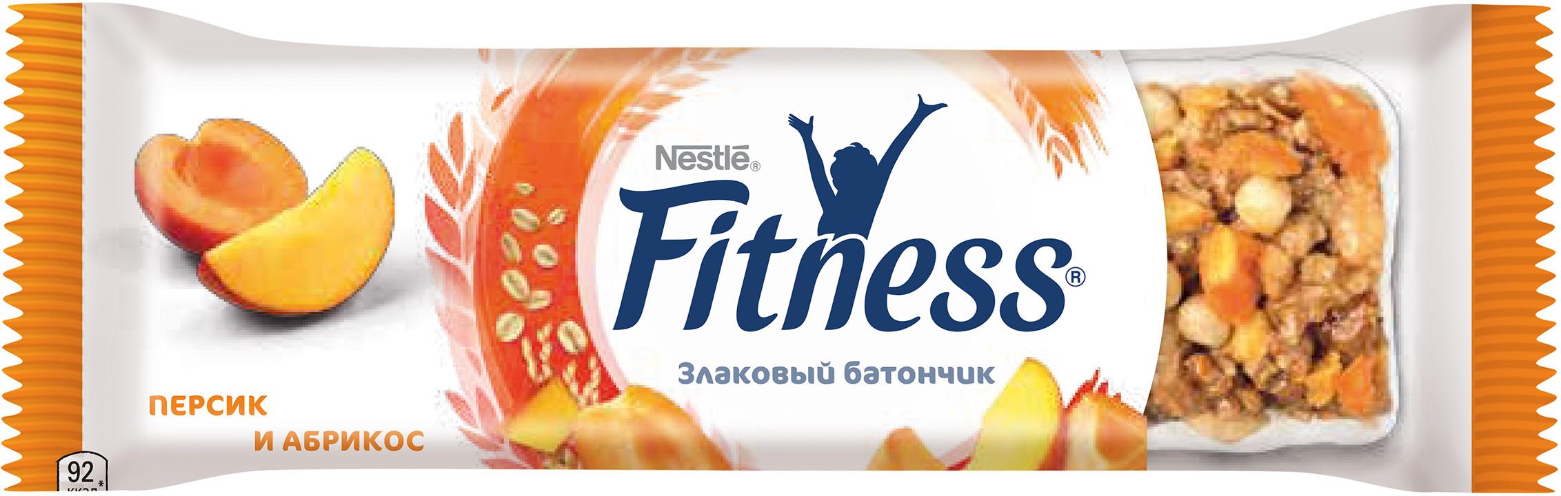 Батончик Nestle «Fitness» с цельными злаками со вкусом персика и абрикоса 23,5 г флэксичипс крекеры льняные натуральные со вкусом томата 100 г