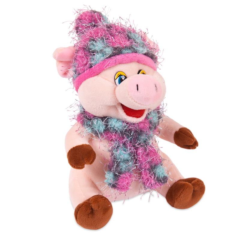 Мягкая игрушка ABtoys Свинка в розовых шарфике и шапочке мягкая игрушка abtoys свинка пушистая 16 см 19758