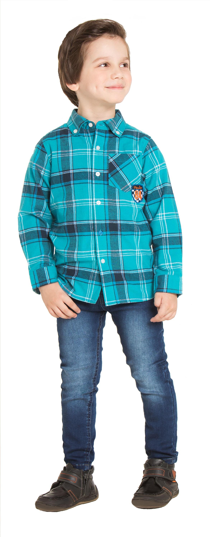 Купить Рубашки, Монстр Трак бирюзовая с рисунком в клетку, Barkito, Индия, бирюзовый с рисунком в клетку, Мужской