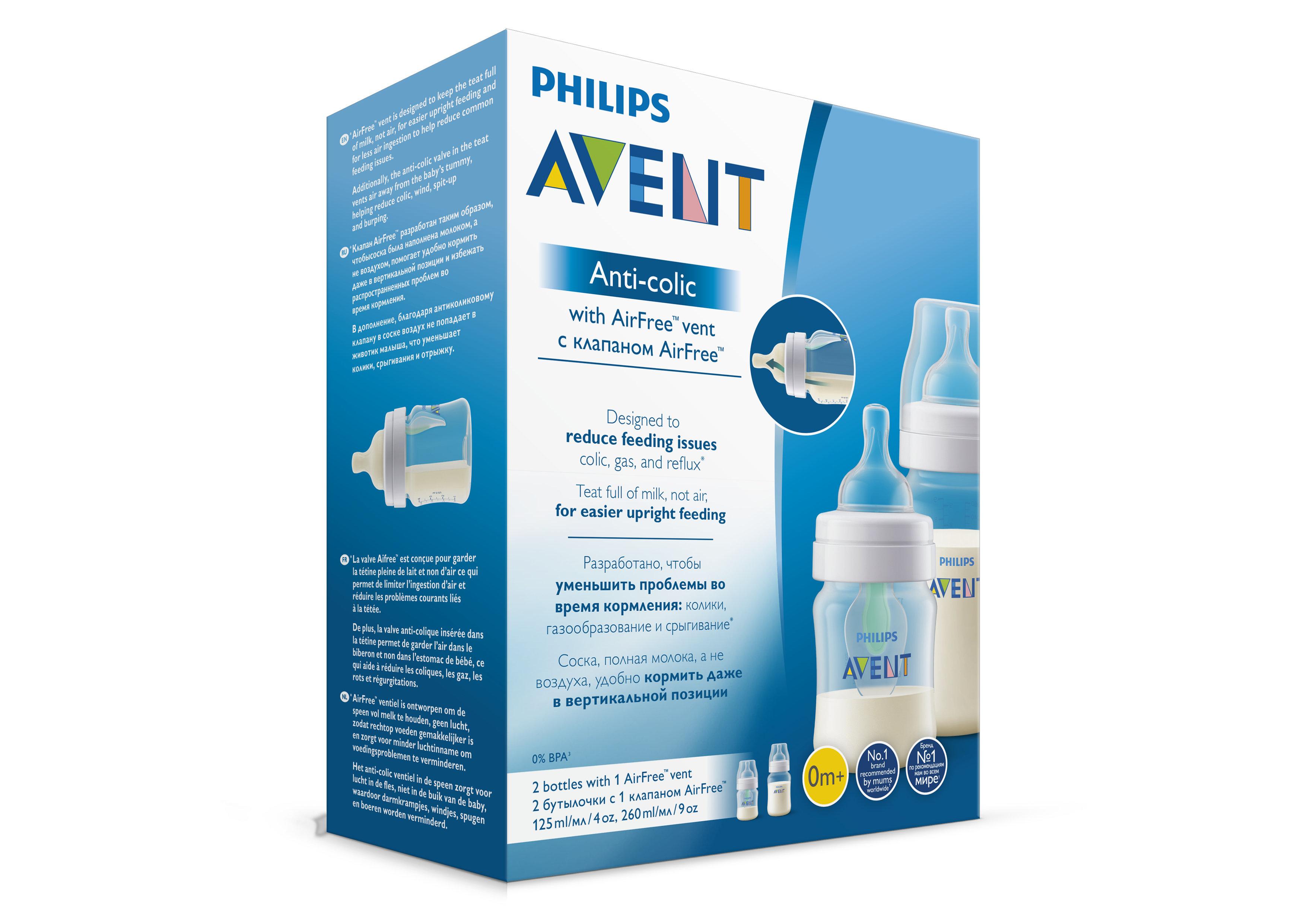 Бутылочка Philips AVENT Anti-colic с клапаном и силиконовой соской Airfree с рождения 260 мл цена и фото