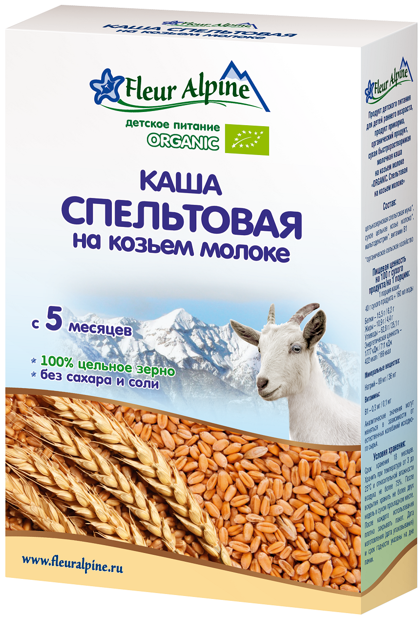 Каша Fleur Alpine Fleur Alpine Молочная спельтовая на козьем молоке (с 5 месяцев) 200 г fleur alpine organic каша на козьем молоке овсяная с 5 месяцев 200 г