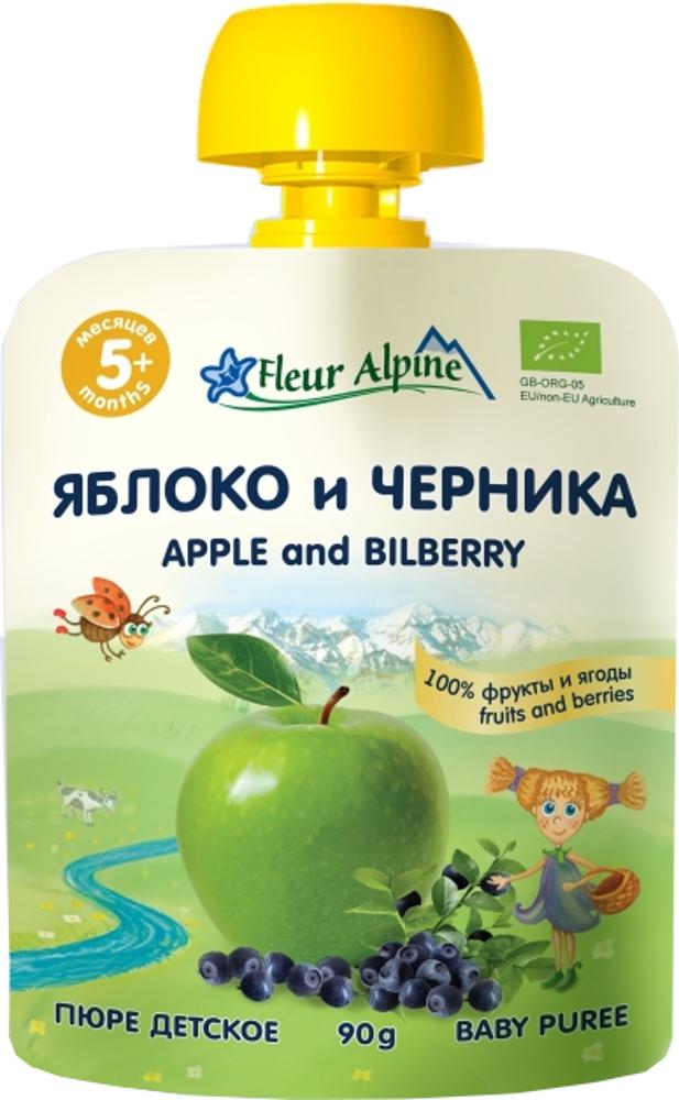 Пюре Fleur Alpine Fleur Alpine Organic Яблоко и черника с 5 мес. 90г (пауч) чай детский fleur alpine черника и шиповник с 5 мес 30 г