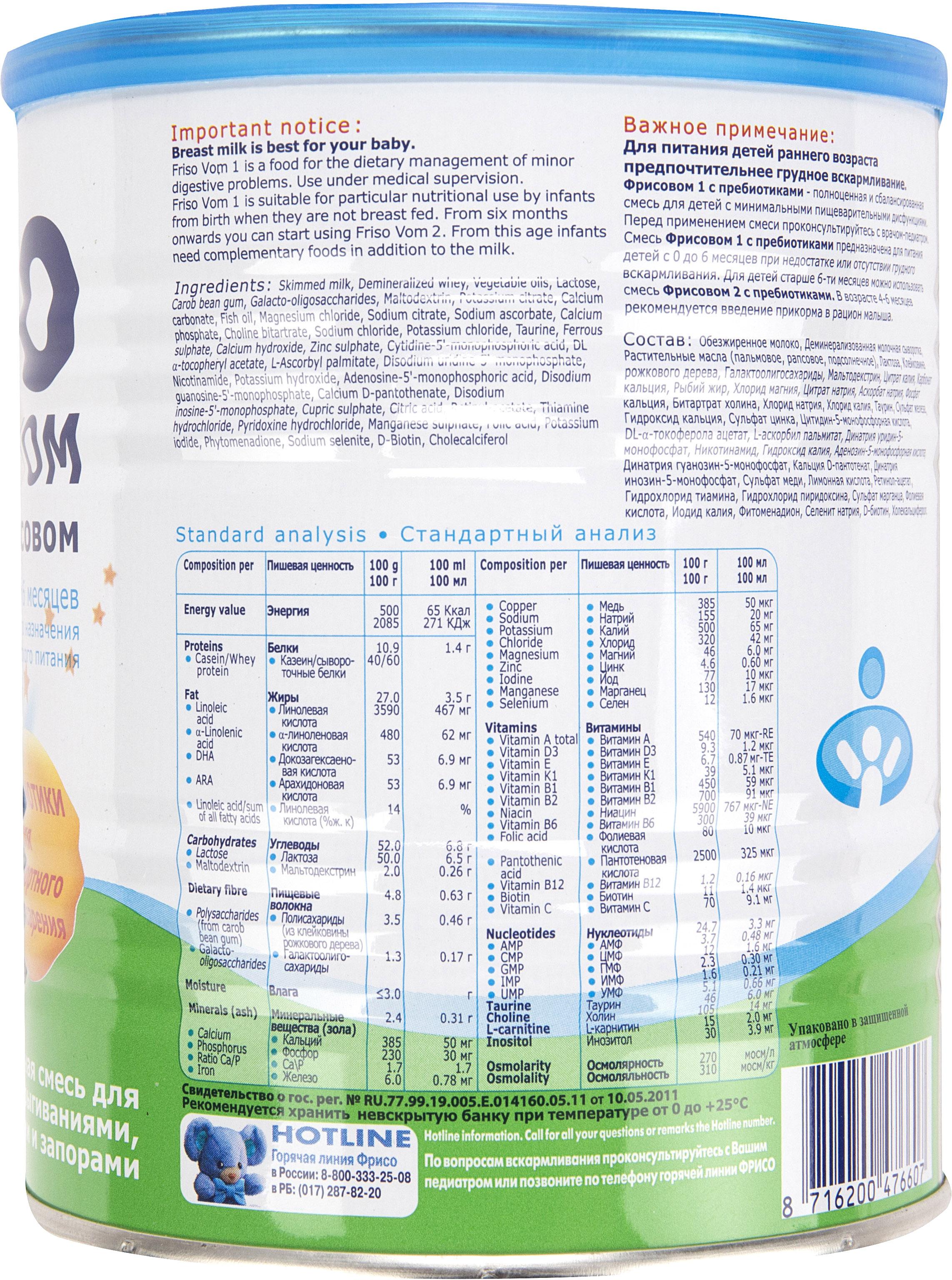 Молочная смесь Friso Фрисовом 1 (с 0 до 6 месяцев) 400 г смесь friso gold 1 400 г