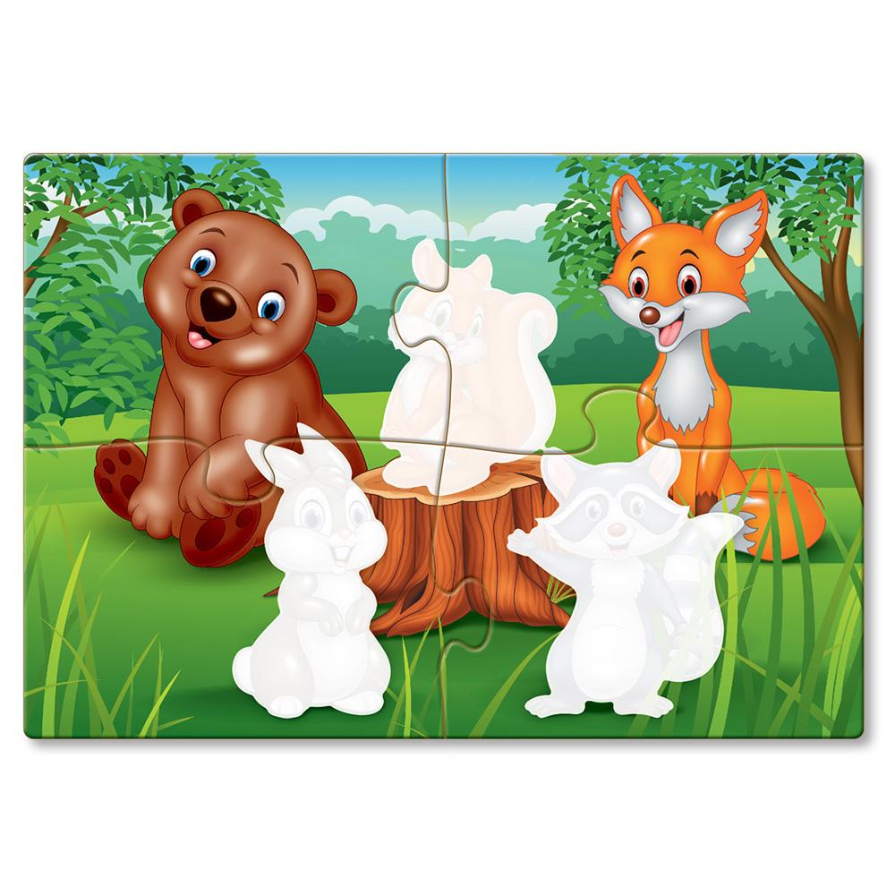 Купить Пазл-водораскраска, Лесные животные, Фантазер, Россия, картон, бумага, полимерный материал