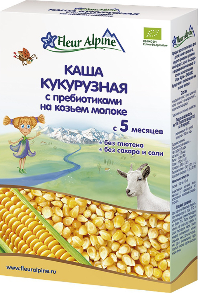 Купить Молочные, Молочная кукурузная с пребиотиками на козьем молоке (с 5 месяцев) 200 г, Fleur Alpine, Германия