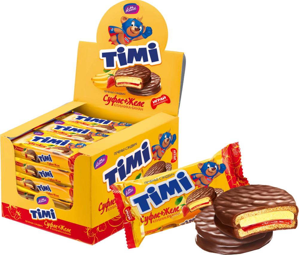 Печенье Konti Konti «TIMI» Клубника-банан 56 г orbit спелая клубника леденцы 35 г