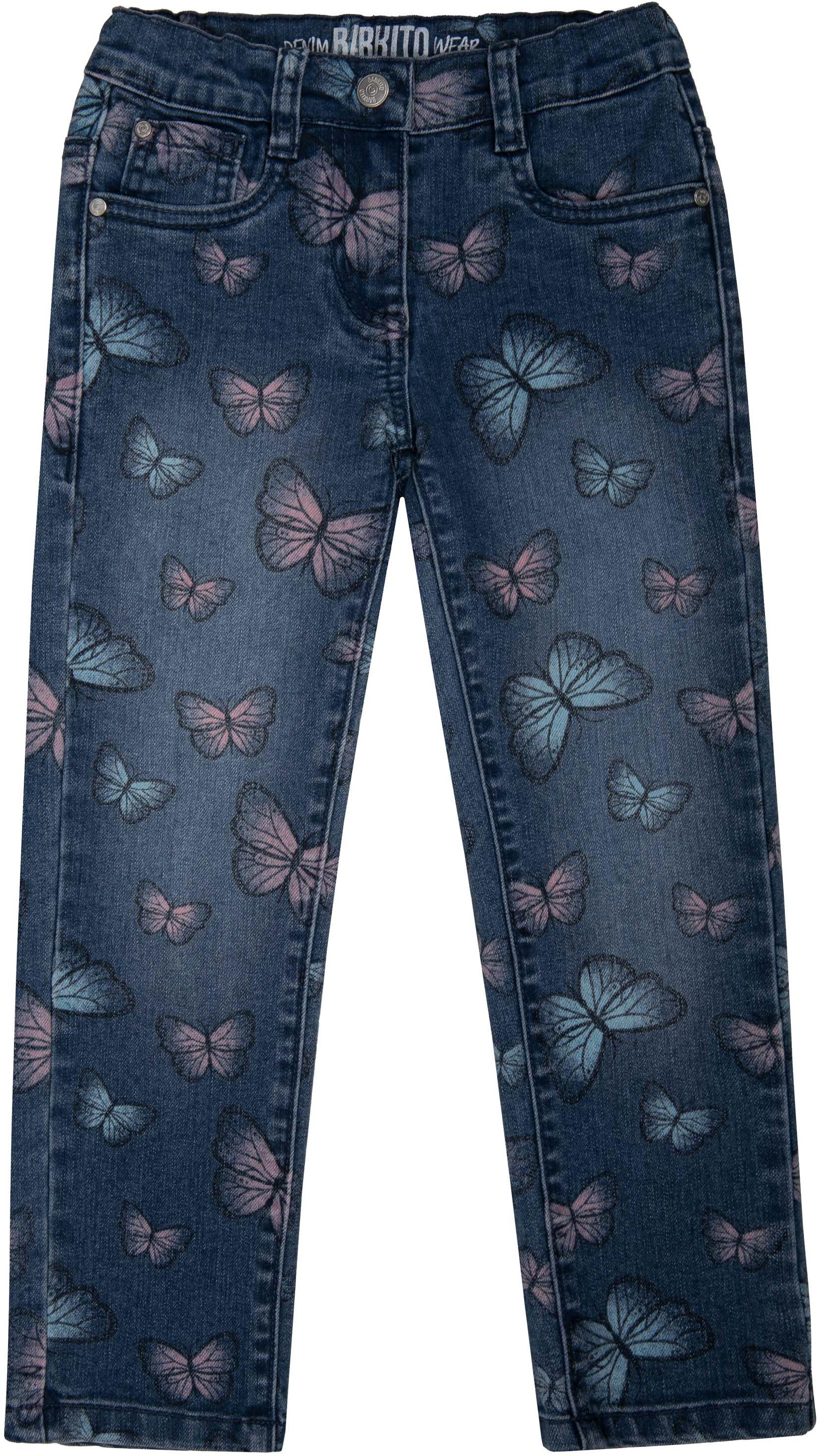Джинсы Barkito Брюки модель Джинсы для девочки Barkito Деним, голубые с рисунком бабочки брюки джинсы и штанишки s'cool брюки для девочки hip hop 174059