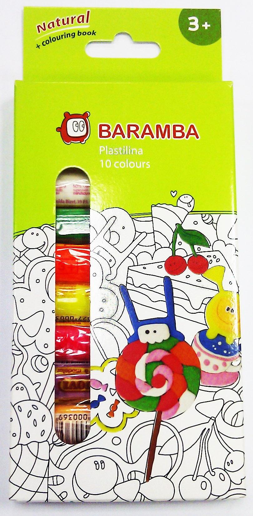 Пластилин Baramba С раскраской 10 шт 14 г в картонной коробке ручки и карандаши baramba треугольные в картонной коробке 13шт вкладыш раскраска