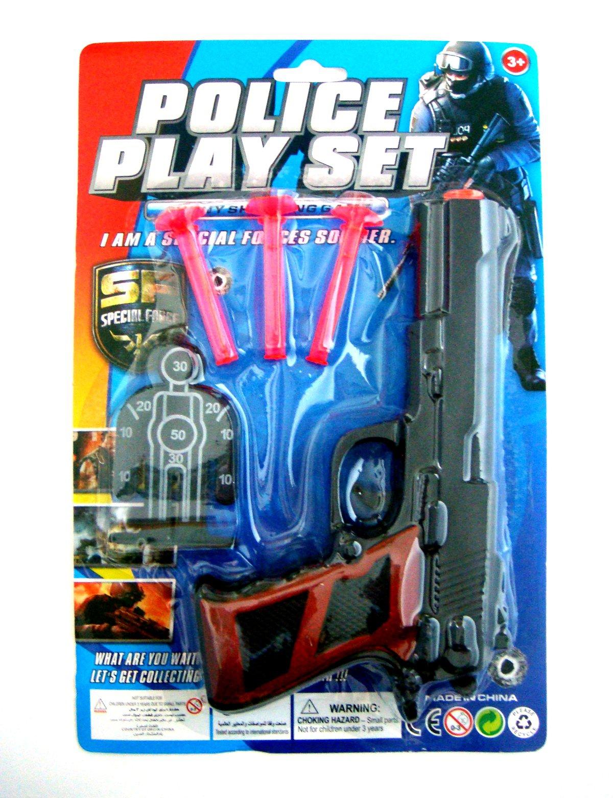 Пистолеты и ружья Юкей с присосками набор полицейского с пистолетом кобурой ремнем значком и жетоном polizei united police set блист