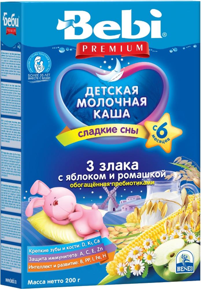 Фото Молочные Bebi Каша молочная Bebi Premium «Сладкие сны» 3 злака с яблоком и ромашкой с 6 мес. 200 г