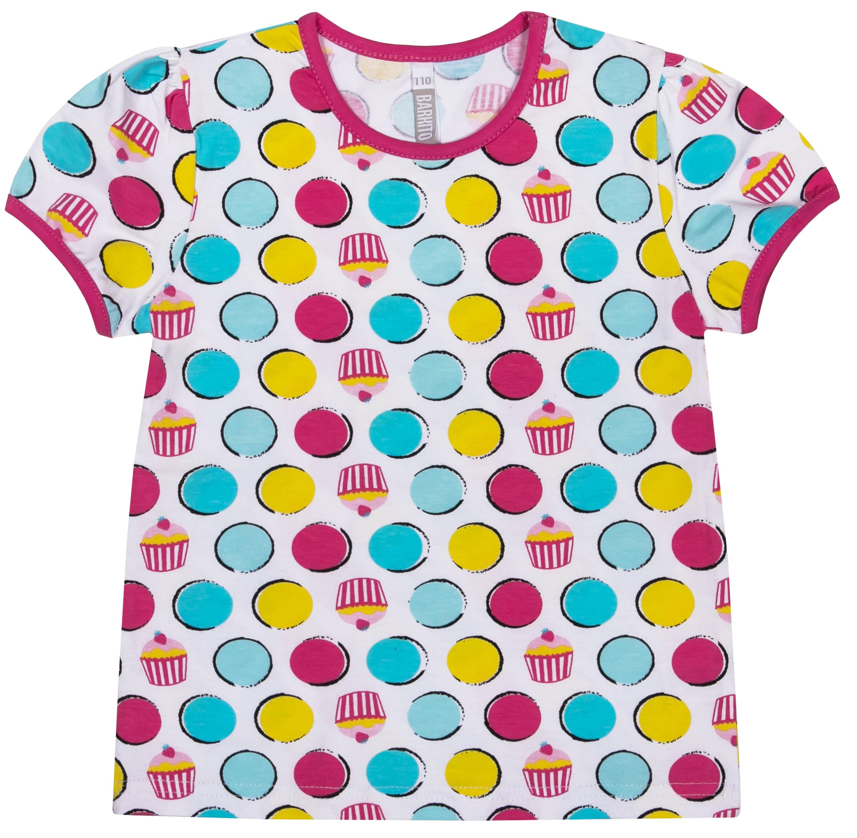 Футболки и топы Barkito Футболка с коротким рукавом для девочки Barkito Сладкоежка-1, белая с рисунком в горошек футболки и топы barkito сладкоежка 2