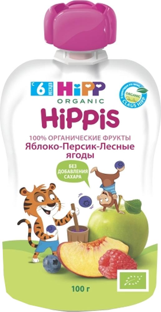 Купить Фруктовое, «Hippis» Яблоко, персик, лесные ягоды с 6 мес. 100 г (пауч), Австрия