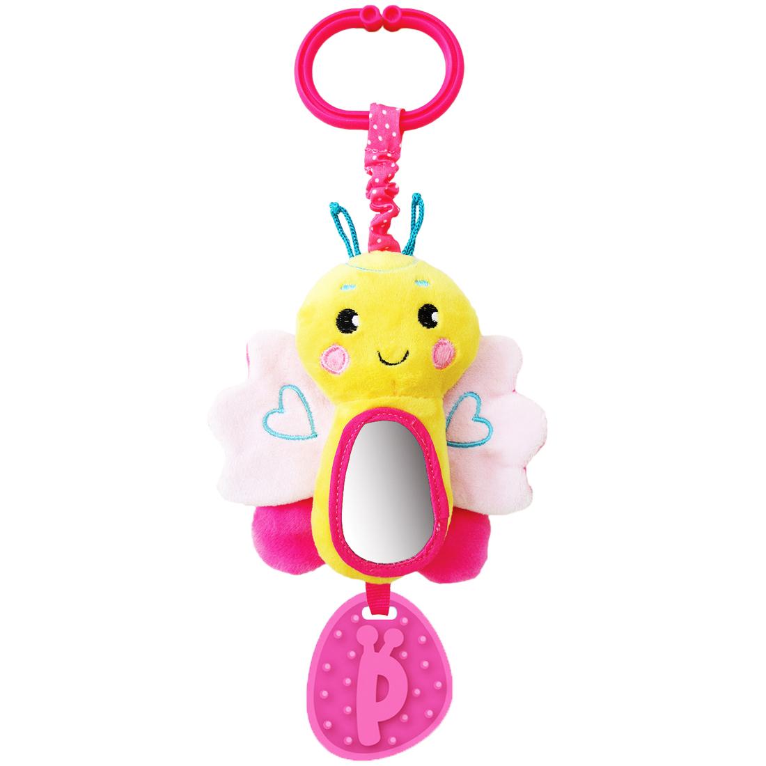 Игры и игрушки в дорогу Жирафики Подвеска Жирафики «Бабочка» с зеркальцем и звуком розовая подвесные игрушки жирафики бабочка 93848