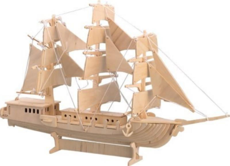 Модель для сборки Wooden Toys Парусник деревянная цена 2017