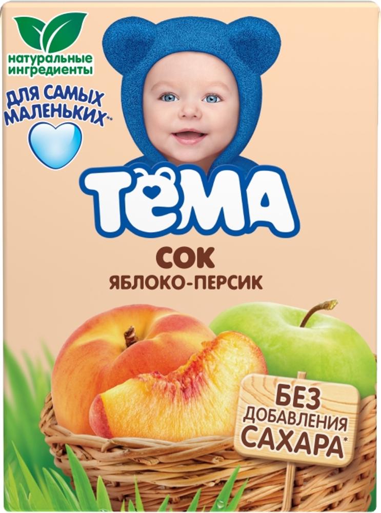 Сок Тёма Яблоко-персик с 5 мес. 200 мл биойогурт питьевой тёма банан и земляника 2 8% с 8 мес 210 мл