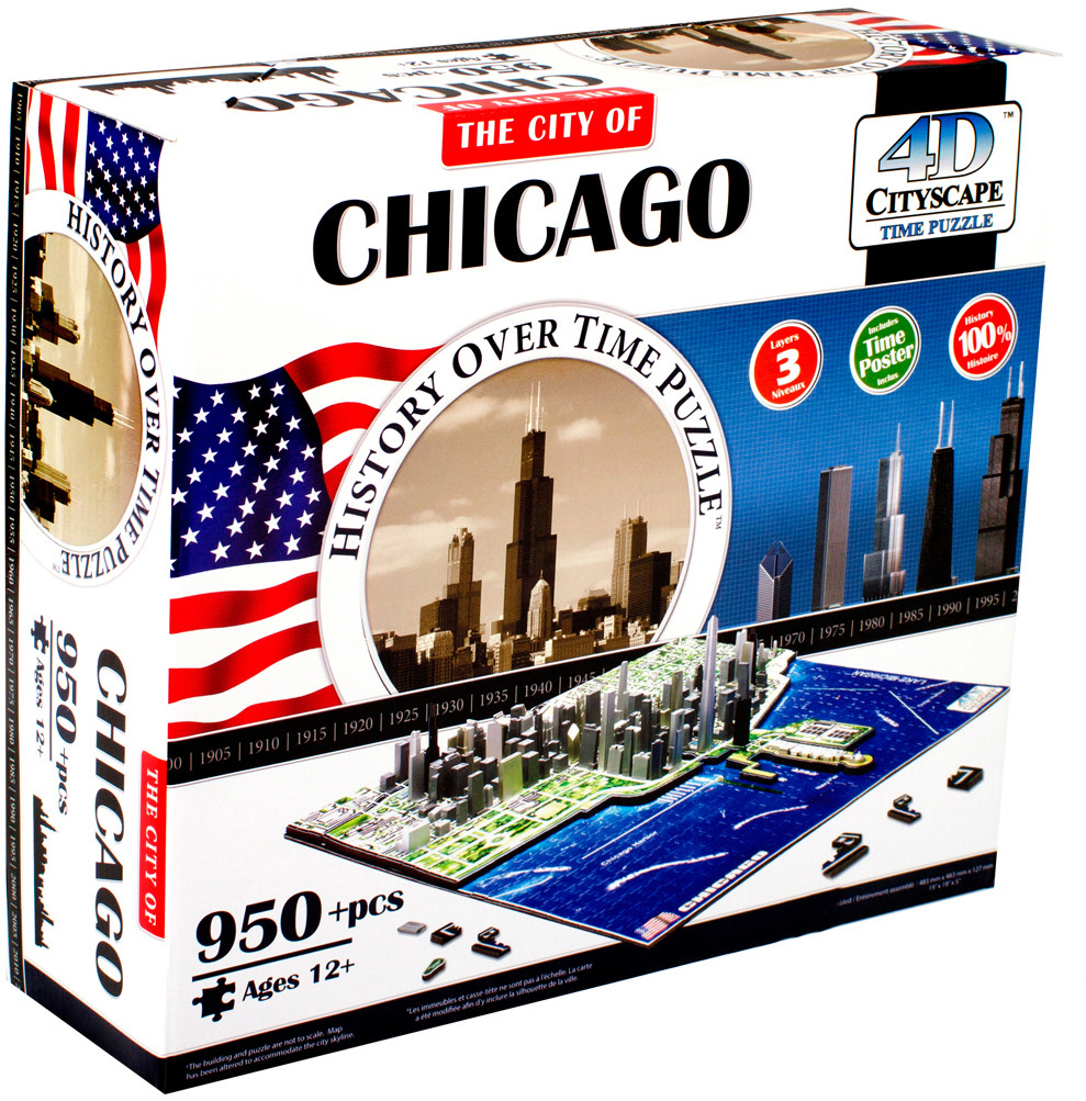 Пазлы 4D Cityscape Пазл 4D Cityscape «Чикаго» 950 дет. объемный фен ga ma legerro ozone ion 4d a21 leggeroion 4d