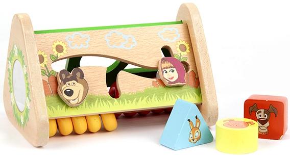 Деревянные игрушки Маша и Медведь Логика со счетами и вкладышам