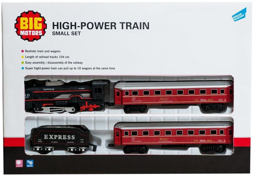 Железные дороги и паровозики BIG MOTORS Игровой набор Big Motors «Железная дорога с 3 вагонами» железные дороги brio железная дорога с автодорогой и переездом