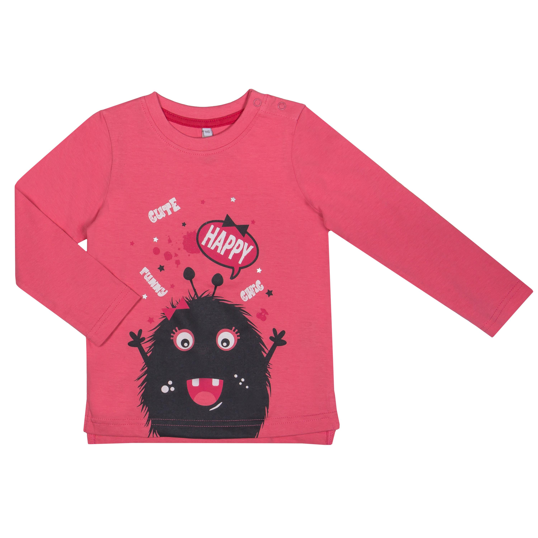 """Футболки Barkito Футболка с длинным рукавом для девочки Barkito """"Весёлый монстр"""", розовая футболка с длинным рукавом для девочки barkito сказочный лес 1 розовая"""