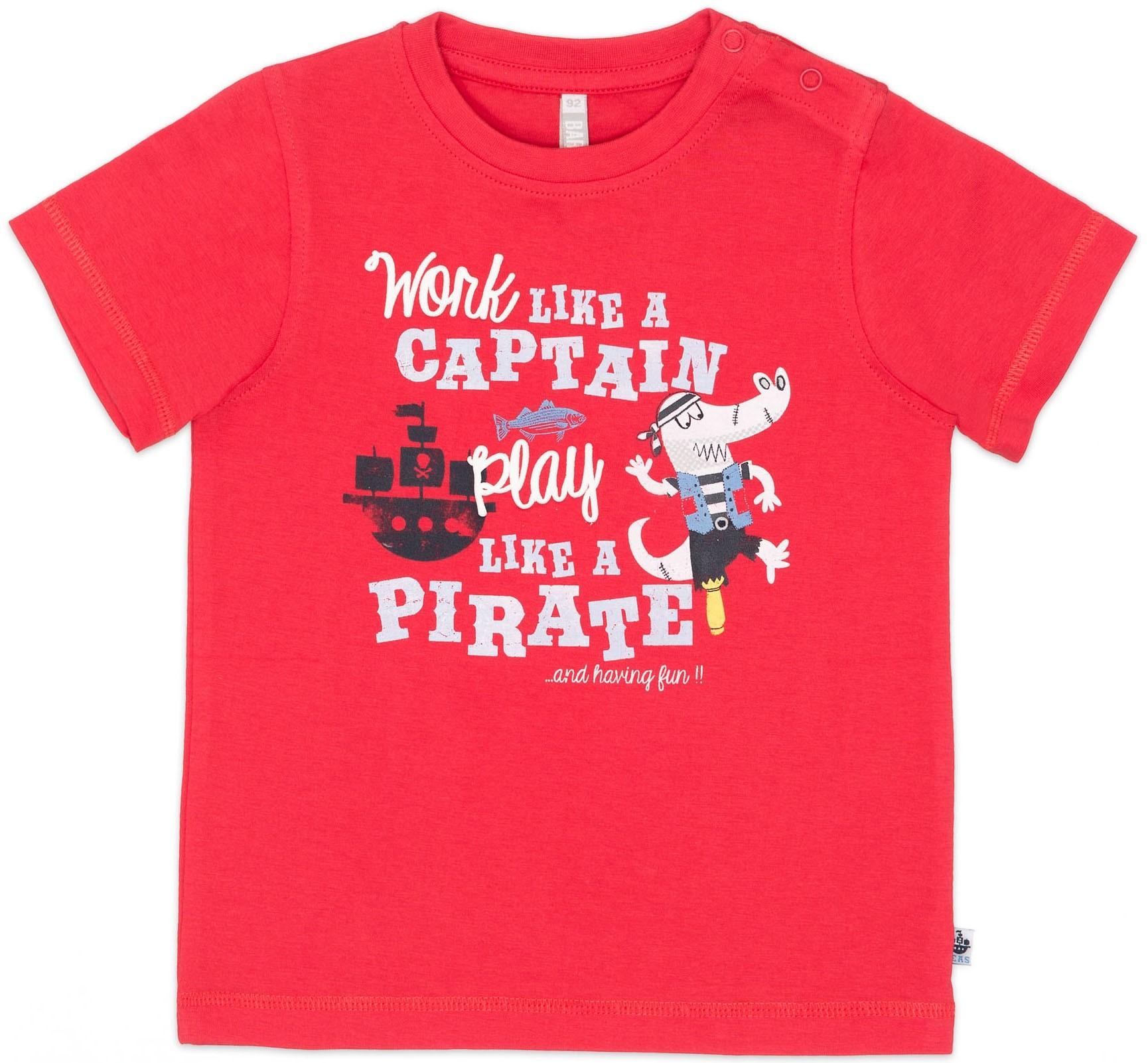 Футболки Barkito Футболка с коротким рукавом для мальчика Barkito, Пираты семи морей, красная