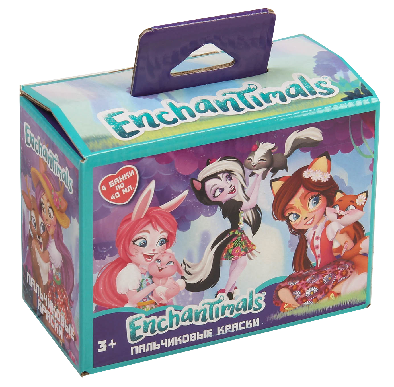 Краски Centrum Краски пальчиковые Enchantimals 4 цв. панно из пластилина enchantimals сделай сам 10 цв