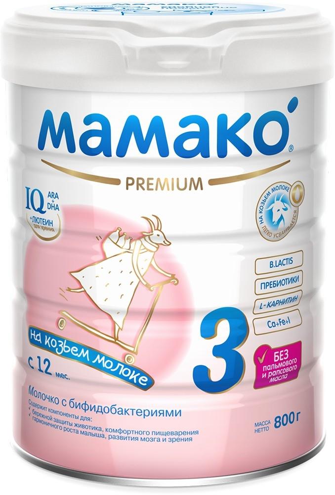 Молочная смесь МАМАКО' Мамако-3 Premium 12 мес. 800 г мамако 3 молочко детское с бифидобактериями на основе козьего молока с 1 года 800г