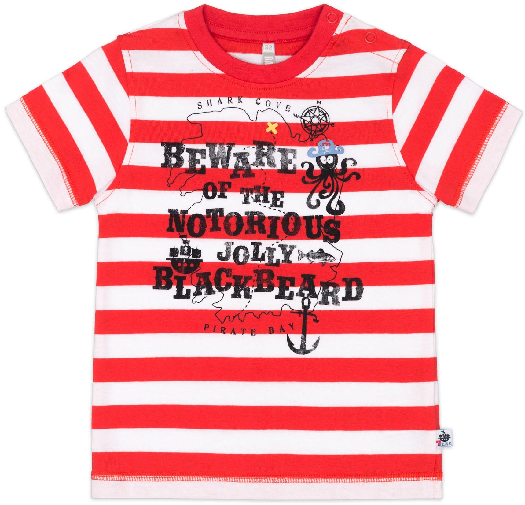 Футболки Barkito Футболка с коротким рукавом для мальчика Barkito, Пираты семи морей, красно-белая, с рисунком полоска