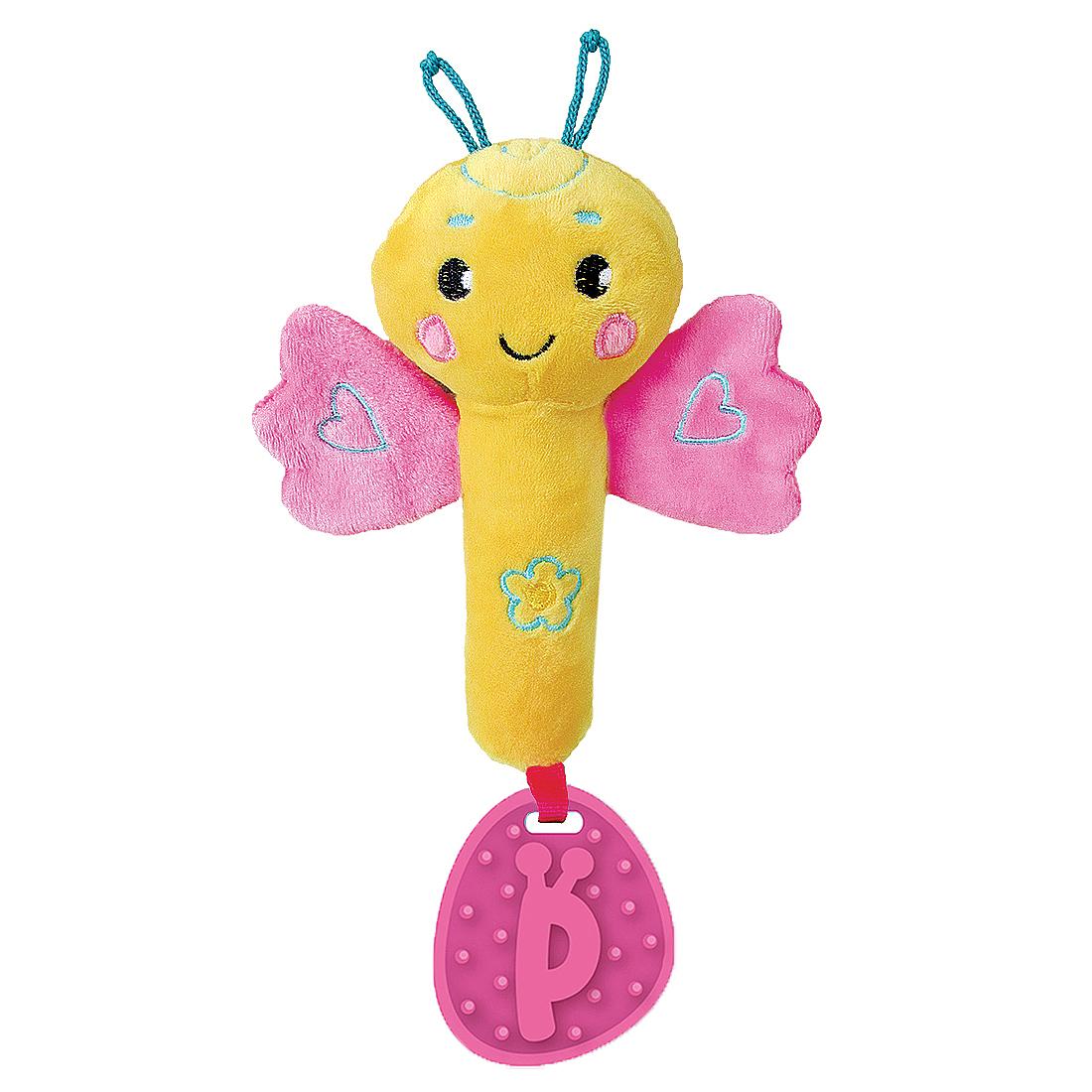Погремушки и прорезыватели Наша игрушка Бабочка прорезыватели жирафики котик с силиконовым прорезывателем и зеркальцем