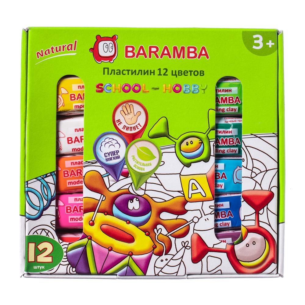 Пластилин Baramba С раскраской 12 цветов по 25 г акварель baramba сухая 12 цветов