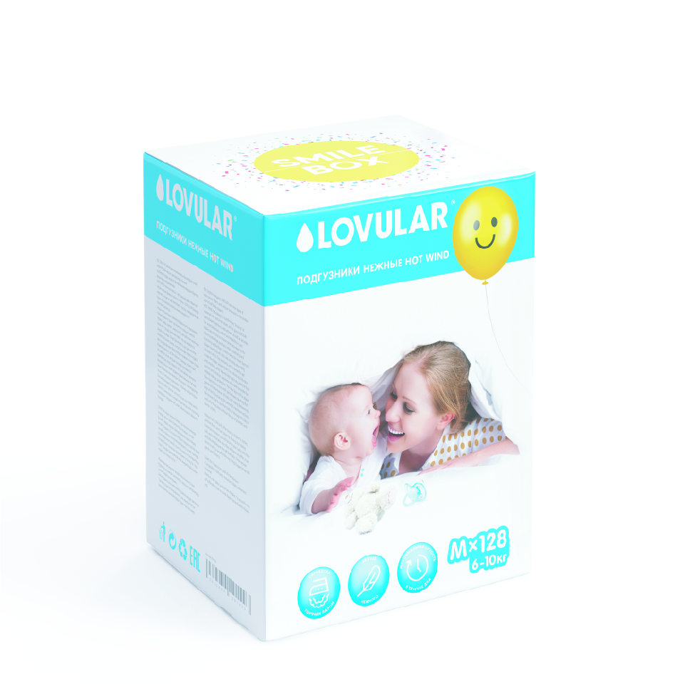 Подгузники Lovular Hot Wind. Smile box M 5-10 кг 128 шт.